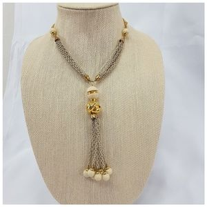 Goldtone rope style beaded extra long necklace